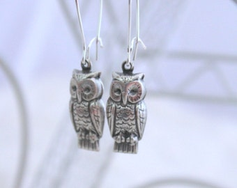 Owl Earrings, Girlfriend Gift, Woodland Creature, Sorority Sister Gift, Hipster Earrings, Owl Jewelry, Silver Owl Earrings, Whimsical Owl
