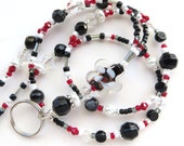 BOLD BLACK FLOWER- Beaded Id Lanyard Badge Holder-Lampwork Beads,  Pearls, Crystals, and Silver Beads (Magnetic Clasp)