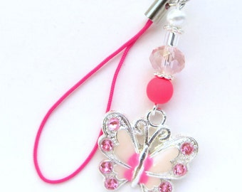 PINK BUTTERFLY- Beaded Zipper Pull, Cell Phone, or Necklace Pendant- Pearls, Crystals, and Butterfly Charm