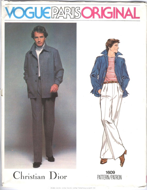 1970s Christian Dior men's shirt-jacket and pants pattern - Vogue 1609