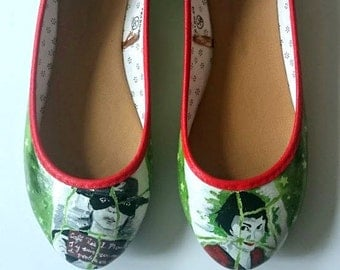 Amelie Poulain - Audrey Tautou shoes ladies - Hand painted and made to order.