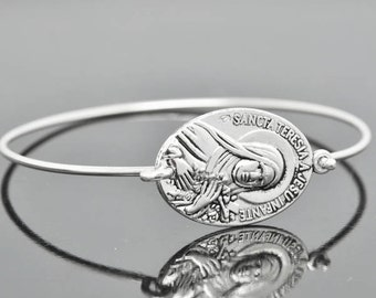 Saint Therese, St Therese Jewelry, St Therese Bracelet, Sterling Silver Bangle, Sterling Silver Bracelet, Christian, Catholic Jewelry
