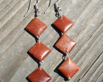 Beautiful burnt orange sandstone dangle earrings