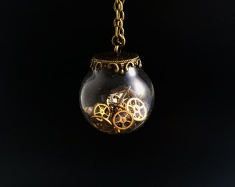 Steampunk necklace, time capsule pendant, vintage watch part chain, Antique Bronze pendant