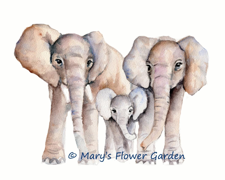 Elephant Family Watercolor Print Nursery Wall Decor