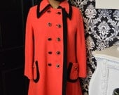 SALE1960s Mod Squad Pink and Black Retro Wool Swing Coat
