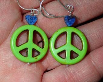 Peace Stone Earrings with Lapis Heart in Sterling Silver hooks