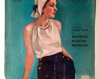1930s Print of lady in sailor outfit McCalls Magazine cover June 1934 artist Neysa McMein vintage