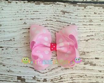 Light Pink Polka Dot Boutique Style Hair Bow