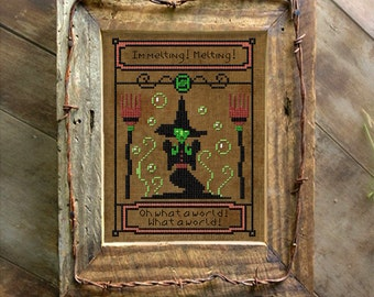 Wicked Witch of the West Cross Stitch Pattern Wizard of OZ Needlepoint Download or Paper Embroidery Chart