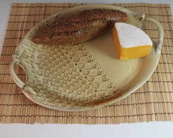 Oval Serving Platter with handles - Yellow with graphic pattern - wedding gift