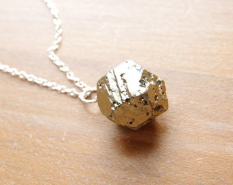 Pyrite Necklace Pendant Sterling Silver Pyrite Jewelry Rustic Nugget Natural Pyrite Pendant Simple Stone Necklace Sterling Jewelry