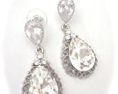Crystal rhinestone earrings ~ Victorian, Vintage style ~ Brides earrings ~ Romantic ~ Sterling silver posts ~Beautifully detailed teardrops