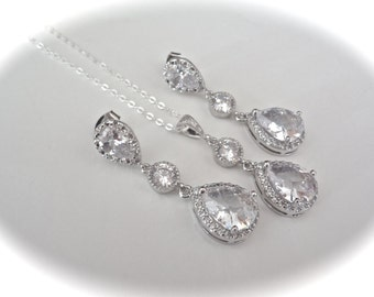 Brides jewelry set - Necklace and earring set -  Cubic Zirconias -  Teardrops - Clear  - LUX - Sterling necklace and posts- High end -