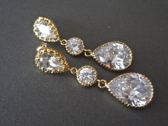 Gold Earrings - Large Cubic Zirconia - Teardrops -  Brides earrings - Long gold earrings - Bridesmaids- Wedding earrings \