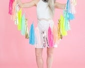 Neon and Pastel Confetti Tassel Garland, Balloon or Mini (Free Shipping)