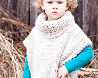 Sweater, Knit Pullover, Poncho, Chunky Sweater, (Toddler, Child, Adult Sizing) MADE TO ORDER