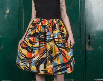 Vintage 1960s Abstract Novelty Print Dress