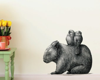Wombat With 2 Galahs Removable Wall Sticker | LSB0055CLR-RTL