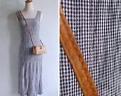 Vintage 90's 'Checkmate' Black & White Gingham Crinkled Tank Dress XS or S