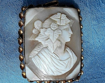 """SALE LARGE CAMEO 1 3/4"""" Exquisite Antique Hand Carved Square Bacchante Cameo Pendant/ Brooch in Twisted Gold Filled Frame.  Only 199.90"""