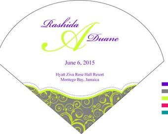 SET OF 25+ Minimal Swirls Design Wedding Fan custom colors available