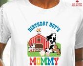 Farm Animal Birthday Shirt for Adults - old mcdonald theme birthday shirt - Barnyard Birthday Shirt - Birthday Boy's Mommy Shirt