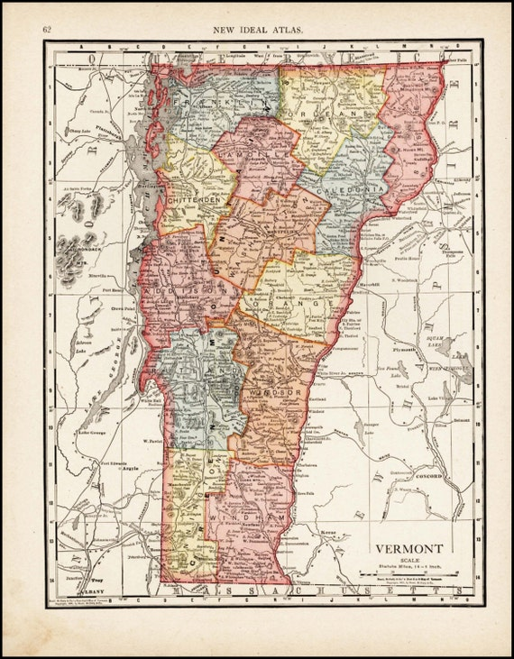 Vermont map of vermont counties 1913 antique amp colorful illustrated