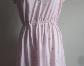 Pink Spring Dress White Flowers Sheer Small