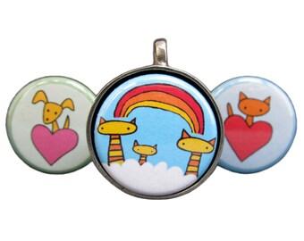 Rainbow Cat Necklace Set - Three Interchangeable Pendants - Dog Pendant - Cat Pendant