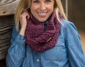 Crochet Chunky Cowl Scarf with Button, Wool Blend Circle Scarf in Fig Purple