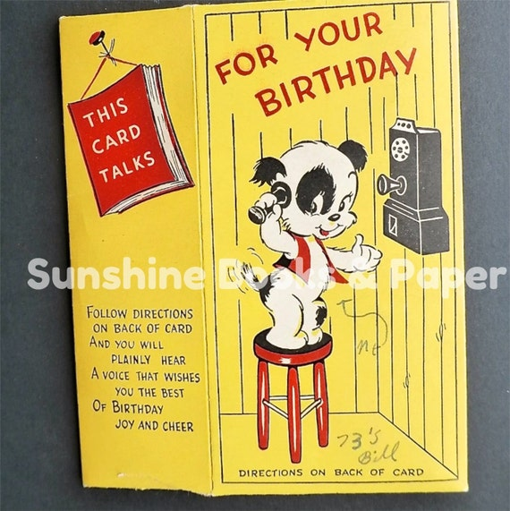 Birthday Ecards Dogs Singing ~ Vintage talking greeting card happy birthday by sunshinebooks