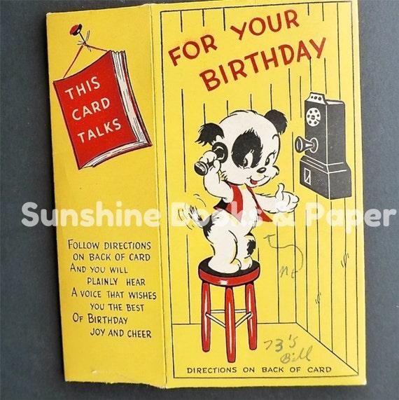 Vintage Talking Greeting Card Happy Birthday By SunshineBooks