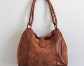 Brown Leather and Suede Whipstitch Bucket Handbag