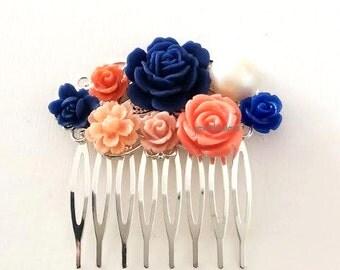 Blue Coral Wedding Hair Comb Navy Blue Orange Peach Hair Accessories Bridesmaid Hair Slide Sapphire Blue Bridal Floral Headpiece Romantic