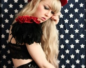 Rose and feather shoulder pieces,dark red floral feather wings, black wings, black swan, rose shoulder pieces
