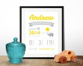 Birth Announcement Wall Art - Elephant theme - PRINTABLE 8x10 Sign / Print in Your choice of colour! - Digital File