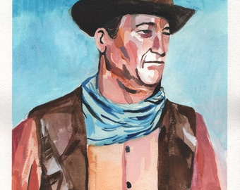 "John Wayne. Watercolor and Gouache on Paper. 9"" x 12"". Painting"