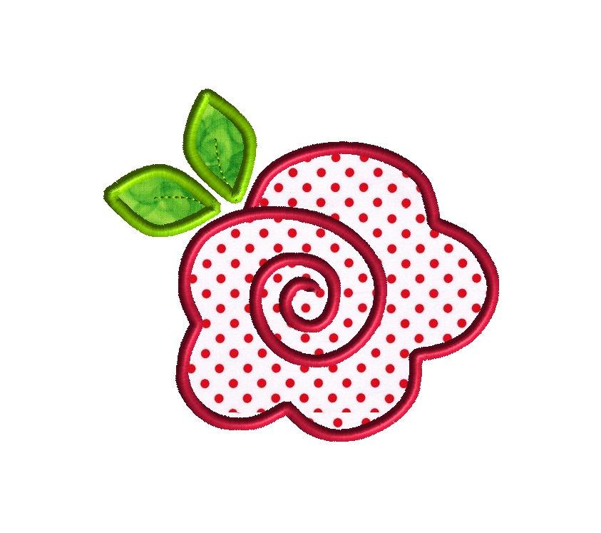 Rose applique machine embroidery design instant download