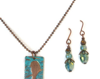 Little Birdy Earring and Necklace Set - handmade - mom, sister, friend, daughter gift