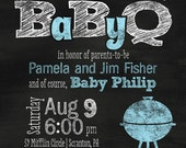 "Chalkboard BBQ ""BabyQ"" Baby Shower / Couple's Baby Shower Invitation - You Print OR I Print"