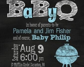 "Chalkboard BBQ ""BabyQ"" Baby Shower / Couple's Baby Shower Invitation - You Print OR I Print"