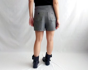Grey wool shorts, shorts women, winter shorts, wool shorts, fall fashion, women's clothing, alicecloset, size medium, vintage inspired