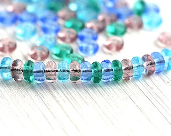 Beads mix, Jewel tone beads, Czech rondelle beads, Purple, Teal, Blue beads, glass spacers, rondels - 4mm - approx. 100-110pc - 0188