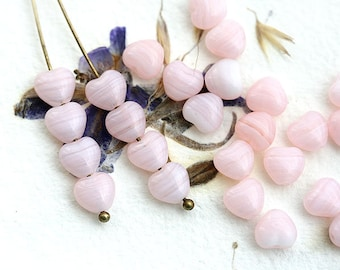 Pink heart beads, Glass hearts, czech glass, light pink beads, pressed beads, small hearts - 6mm - 30Pc - 2150