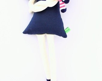 New '''' , April , soft doll, handmade  rag doll, wearing  beret ,scarf and socks ,  ready to ship,stuffed doll