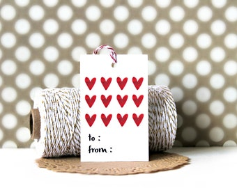 Heart Tags (Set of 10) - Gift Tags, Heart Tags, Gift Wrapping, Gift Wrap, Hearts