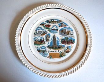Vintage Nebraska Souvenir Plate - Floyd Jones Vintage