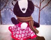 OOAK Plush skunk stuffed animal with Christmas dress