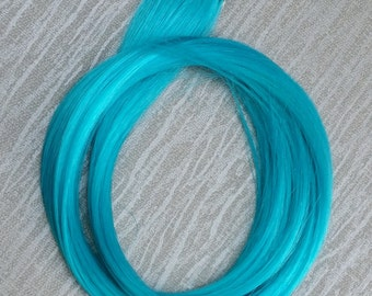 Turquoise Blue Clip in up to 21 Inches Hair Extension Hand Wefted Gothic Steampunk Cosplay
